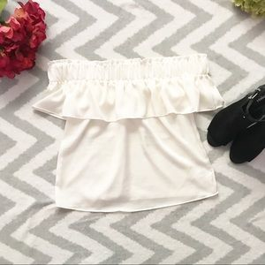 Express Tops - EXPRESS | Ivory ruffle off the shoulder Blouse